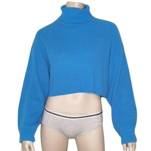 H&M Divided Cropped Rib Knit Turtleneck Sweater